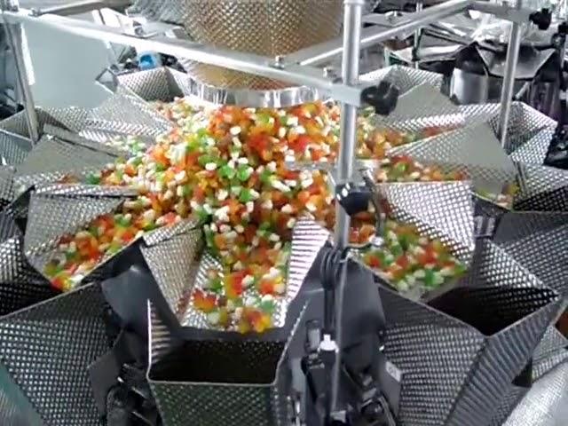 Beutel Senkrechte Formfüllsiegelwaage mit 14 Köpfen und Verpackung 2 in 1 für knusprige Reisflocken
