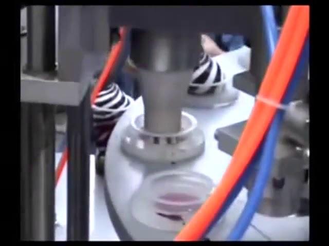 Halbautomatische Mini-Rotary-Eisbecher-Füll- und Verschließmaschine